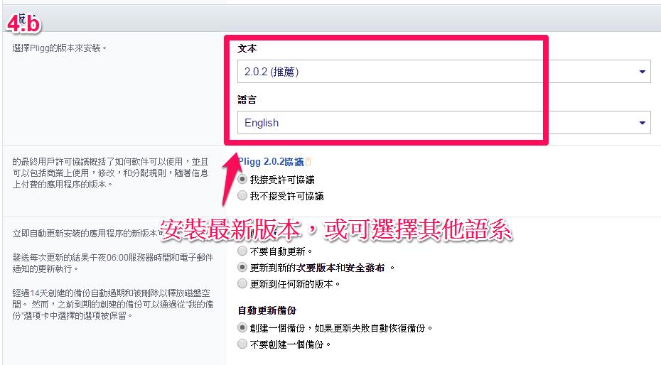 同一頁面中:軟體版本或語系選取